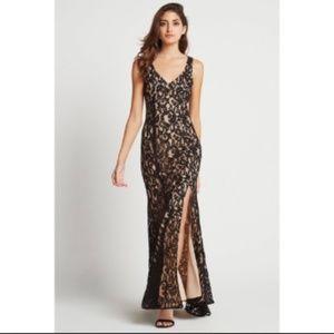 🎉Hostpik🎖BCBG Floral Lace Side Slit Godets Dress